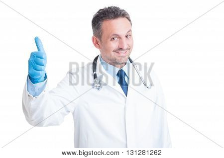Happy Medic Or Doctor Showing Like