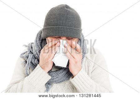 Cold Man Wearing Hat, Scarf, And Sweater