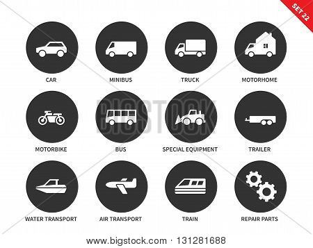 Transportation vector icons set. Travelling and driving concept. Different kinds of vehicles, cars, minibus, truck, motorhome, motorbike, water and air transport, train. Isolated on white