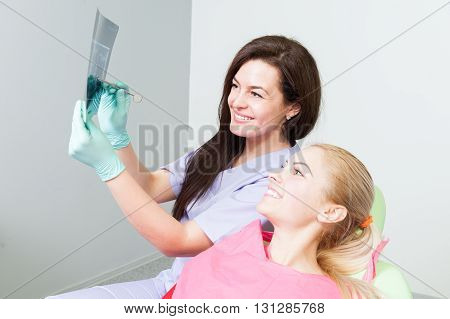 Dentist Doctor And Patient Examining Dental X-ray
