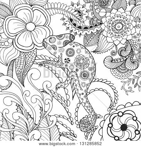 Cute chameleon in fantasy flowers. Animals. Hand drawn doodle. Ethnic patterned illustration. African, indian, totem tatoo design. Sketch for avatar, tattoo, poster, print or t-shirt.
