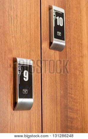 Close Up Of Modern Numbered Lockers Secured With Cardkey