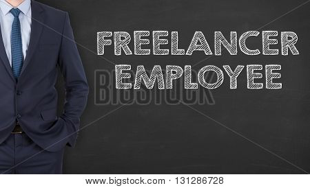 Freelancer Employee on Blackboard Background Working Conceptual Business Concept
