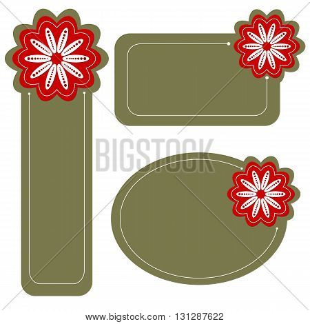 Green tag collection with red and white flowers