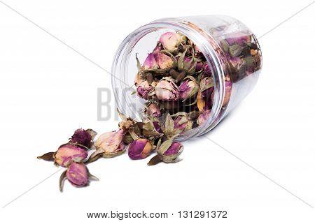 Dry Flower Blooms For Tea In Plastic Jar