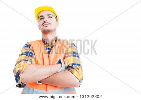 Attractive Smiling Engineer Standing With Arms Crossed And Act Confident