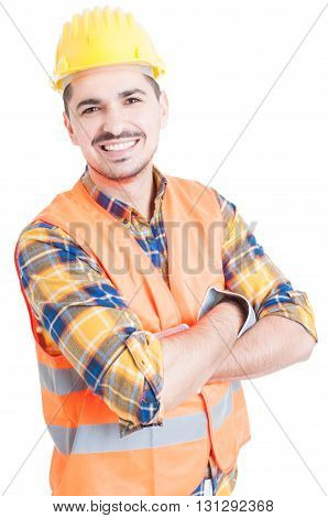 Smiling Handsome Constructor With Folded Arms Looking Cheerful