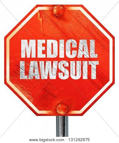 medical lawsuit, 3D rendering, a red stop sign