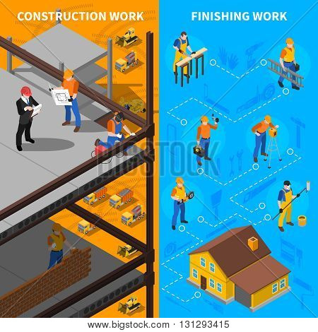 Construction Workers Isometric Concept. Builders Vertical Banners. Construction Workers Vector Illustration. Construction Workers Set. Building Design Symbols.Workers Elements Collection. Worker People Compositions.
