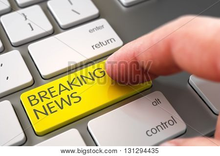 Selective Focus on the Breaking News Button. Breaking News Concept - Laptop Keyboard with Breaking News Key. Hand using Modernized Keyboard with Breaking News Yellow Button, Finger, Laptop. 3D Render.