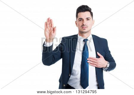 Honest Lawyer Hand Over Heart As Swear Or Oath Gesture