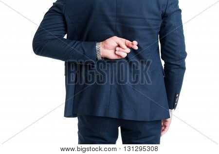 Salesman Or Businessman Making Fingers Crossed Good Luck Gesture
