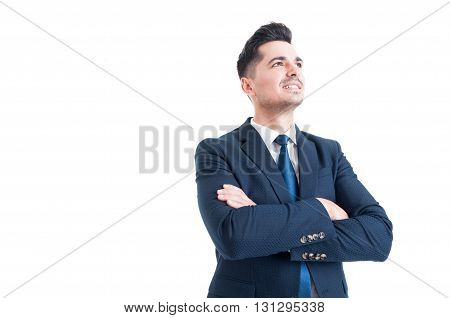 Visionary Businessman Banker Or Broker Looking Up