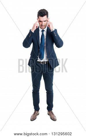 Stressed Salesman Or Broker Pressing Head On Migraine