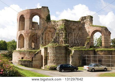 TRIER, GERMANY - SEPTEMBER 15, 2010: The roman bath-house was built during the 4th century and was the largest thermae north of the Alps. It is enrolled on the UNESCO list of World Heritage Sites.