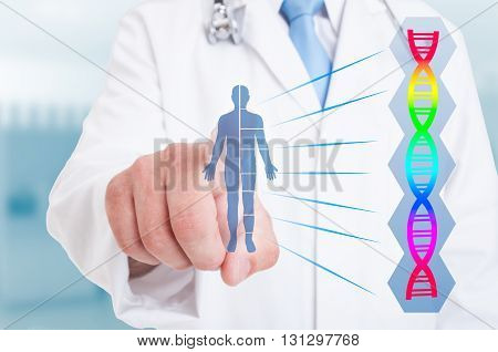 Young Doctor Working With Drawing Body And Dna Icon