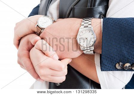 Man and woman wrtists in close-up with expensive elegant watches as luxurious jewelry concept isolated on white