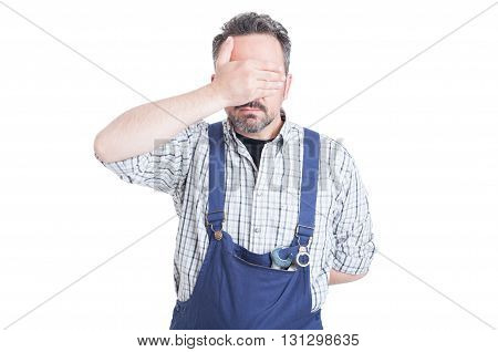 Young Mechanic Man  Making The See No Evil Gesture