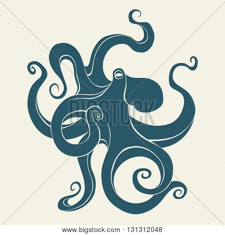 Silhouette of octopus. Template for logos, labels and emblems. Vector illustration