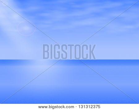 Vector illustration of a background seascape, Sea Landscape. Complete calm sea, ocean. Specular sea horizon.