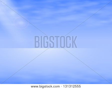 Vector illustration of a background seascape, Sea Landscape. Complete calm sea, ocean. Background with sea mist. Specular sea horizon.