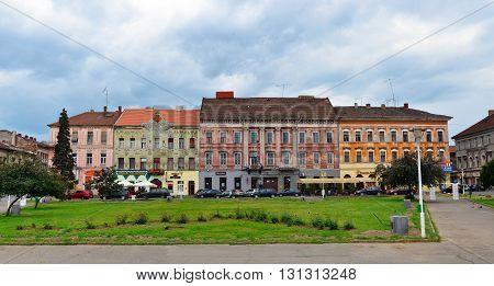 ARAD ROMANIA - 05.02.2016: avram iancu square buildings landmark architecture