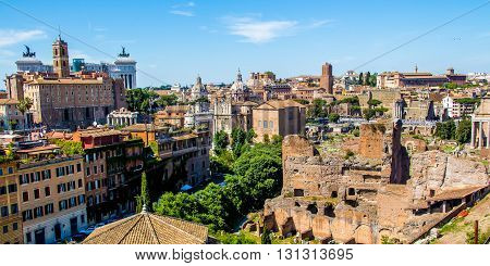 Cityscape of Rome view on the Roman Forum and the Vittoriano; Italy poster