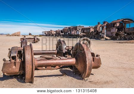 Train cemetery in Salar Uyuni plains in Bolivia