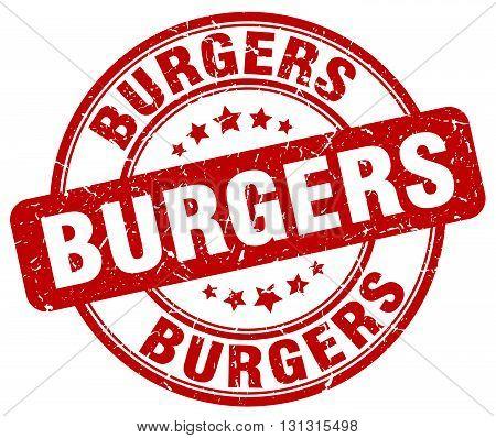 burgers red grunge round vintage rubber stamp.burgers stamp.burgers round stamp.burgers grunge stamp.burgers.burgers vintage stamp.