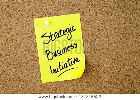 Strategic Business Initiative Written On Yellow Paper Note