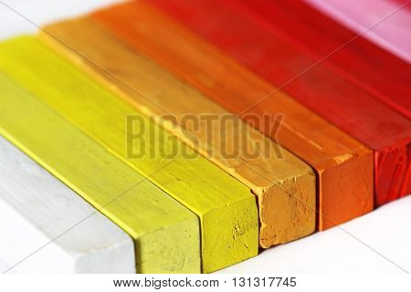 Color range - macro - detail of the colored pastels - range of warm colors