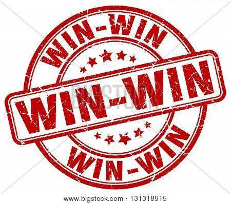 Win-win Red Grunge Round Vintage Rubber Stamp.win-win Stamp.win-win Round Stamp.win-win Grunge Stamp
