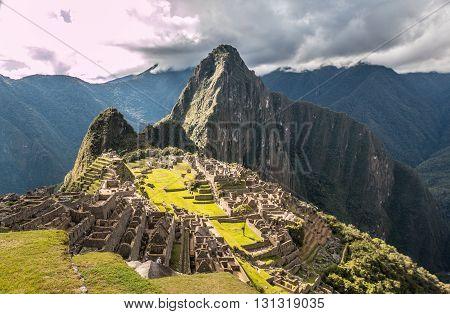 Nice view of Machu Picchu ruins in Peru