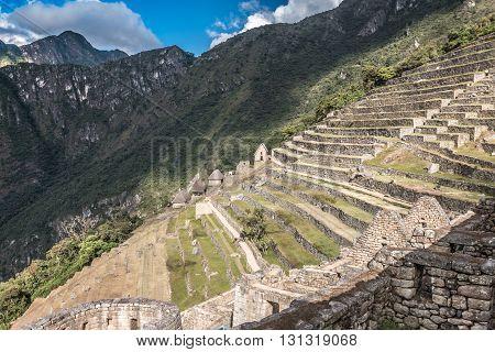 Terraces in Machu Picchu ruins in Peru