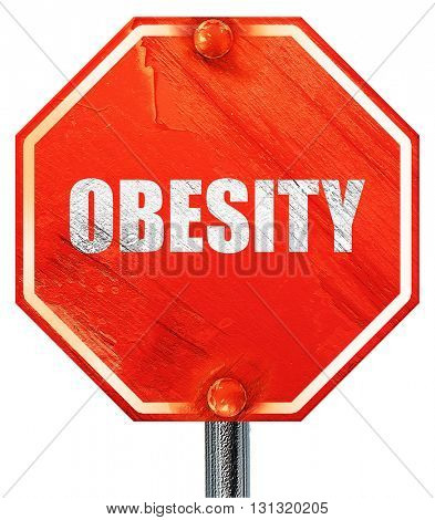 obesity, 3D rendering, a red stop sign