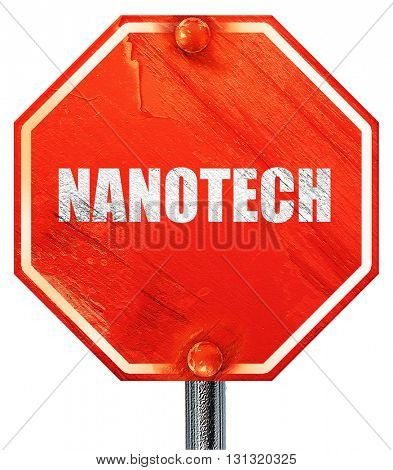 nanotech, 3D rendering, a red stop sign