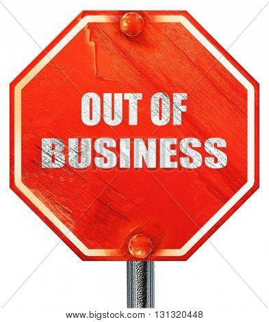 Out of business background, 3D rendering, a red stop sign