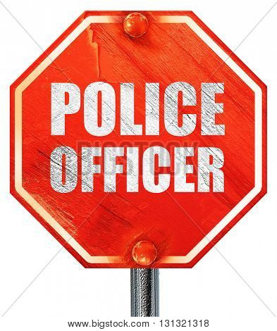police officer, 3D rendering, a red stop sign