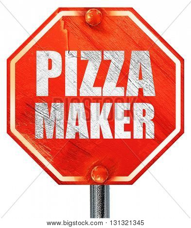 pizza maker, 3D rendering, a red stop sign