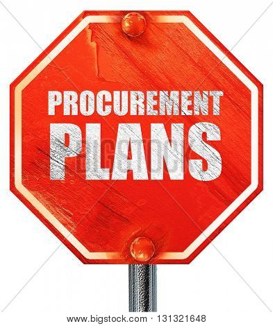 procurement plans, 3D rendering, a red stop sign