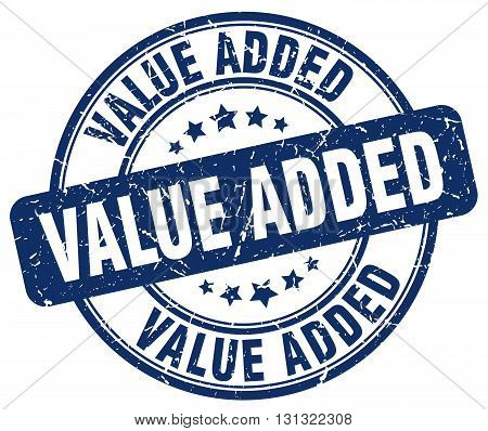 Value Added Blue Grunge Round Vintage Rubber Stamp.value Added Stamp.value Added Round Stamp.value A