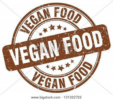 Vegan Food Brown Grunge Round Vintage Rubber Stamp.vegan Food Stamp.vegan Food Round Stamp.vegan Foo
