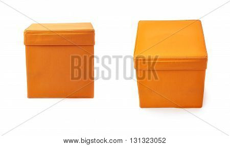 Set of Orange foot stool ottoman pouffe over isolated white background