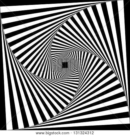 Spiral of black stairs on descending perspective black on transparent