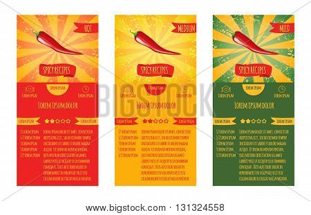 Three leaflets design recipes spicy dishes. Degree of severity: hot spicy mild.