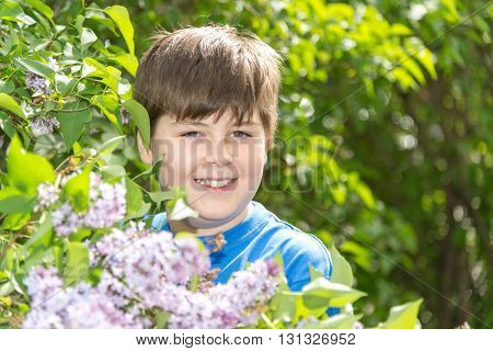 Portrait of boy in a park with blooming lilacs