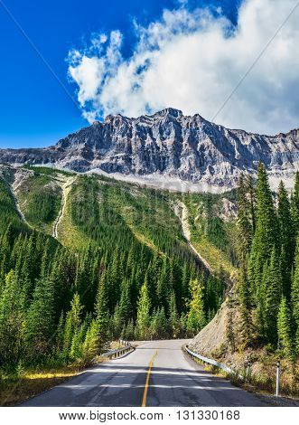 The picturesque road in Yoho National Park. Rocky Mountains of Canada