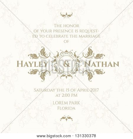 Wedding invitation. Design classic cards. Decorative floral border. Template for greeting cards invitations. Graphic design page.