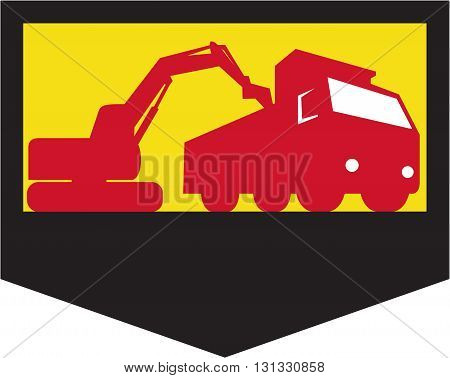 Illustration of a mechanical digger excavator earthmover loading a dump truck viewed from low angle set inside shield crest done in retro style