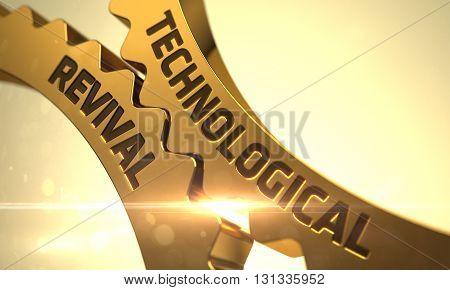Technological Revival on the Golden Metallic Gears. Technological Revival on Mechanism of Golden Metallic Cog Gears with Lens Flare. Technological Revival Golden Gears. 3D.